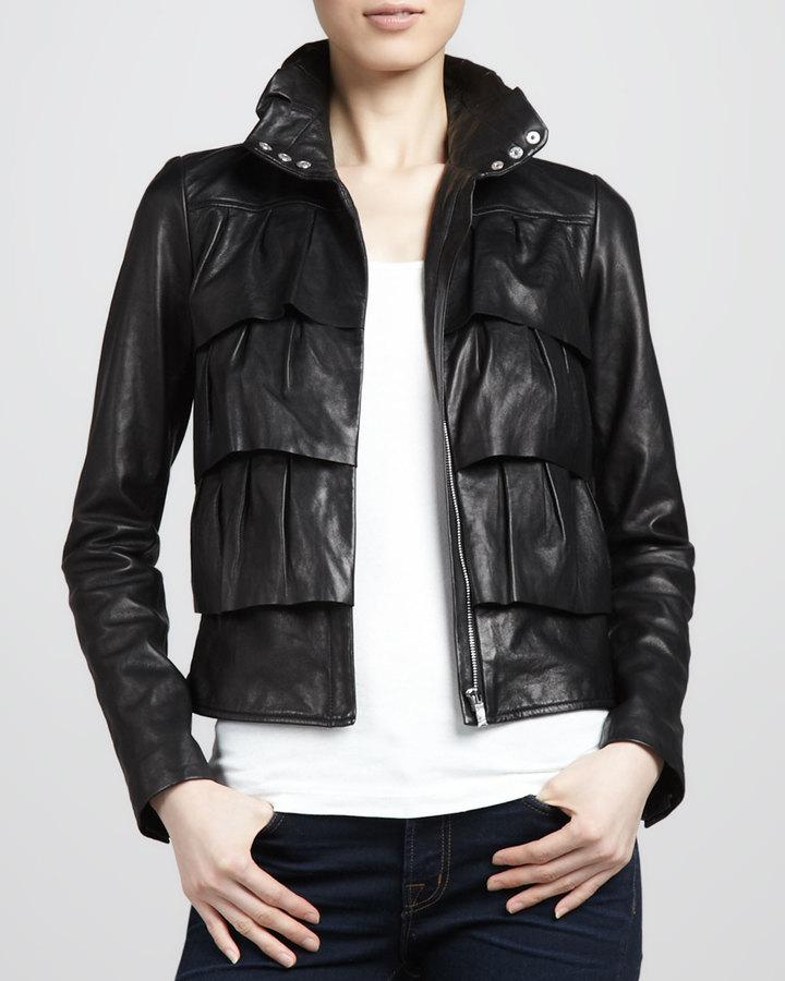 Diane von Furstenberg Cupcake Tiered Leather Bomber Jacket