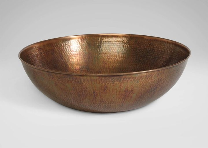 Aged Copper Hammered Bowl