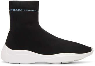 Prada Black Knit High-Top Sneakers