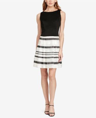 American Living Striped Organza-Ponte Dress $99 thestylecure.com