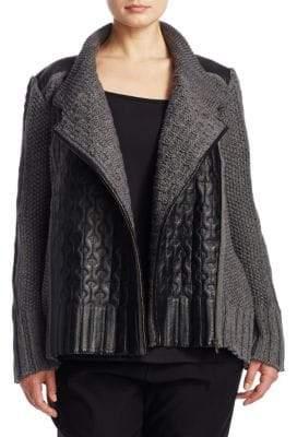 Nic+Zoe Plus Plus Leather-Trim Cable Knit Jacket