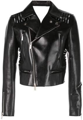 Noir varnished biker jacket