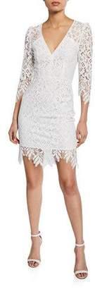 Nanette Lepore Late Night 3/4-Sleeve Mini Lace Dress