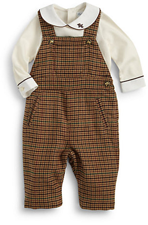 Ralph Lauren Infant's Two-Piece Bodysuit & Houndstooth Overalls Set