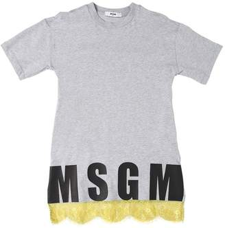 MSGM Cotton Jersey Dress W/ Lace Hem