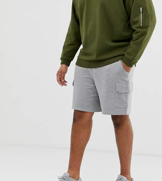 Asos Design DESIGN Plus jersey fit shorts with cargo pockets in gray marl