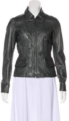 Vince Leather Zip Up Jacket