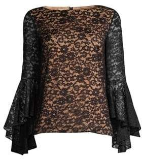 Michael Kors Lace Cascade-Sleeve Top