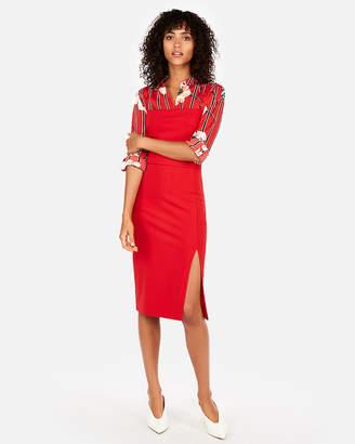 Express Petite Velvet Front Slit Sheath Dress