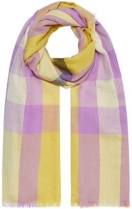Burberry Fringed Check Cashmere Scarf