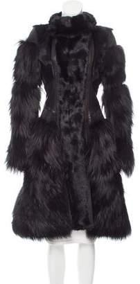 Herve Leger Fox Fur-Trimmed Leather Coat