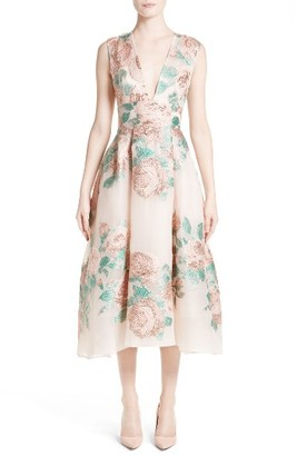 Women's Lela Rose Floral Jacquard Fil Coupe Dress $2,695 thestylecure.com