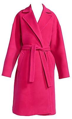 Balenciaga Women's Wrapped Wool-Blend Trench Coat