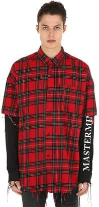 Layered Raw Cut Plaid Flannel Shirt