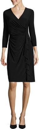 Evan Picone BLACK LABEL BY EVAN-PICONE Black Label by Evan-Picone 3/4 Sleeve Ruffle Sheath