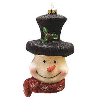 Asstd National Brand 5 Merry & Bright Whimsical Snowman Head with Top Hat and Scarf Shatterproof Christmas Ornament