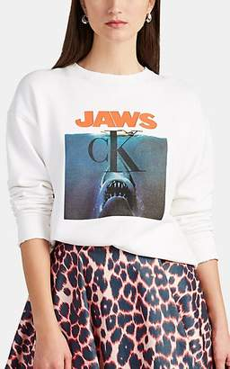 "Calvin Klein Women's ""Jaws"" Logo Graphic Sweatshirt - White"