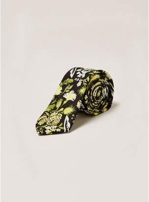 Topman Mens Black and Yellow Floral Print Tie