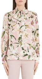 Dolce & Gabbana Lily Print Bow Neck Blouse