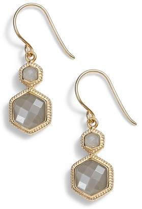 Anna Beck Grey Moonstone Double Drop Earrings