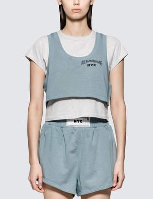 Alexander Wang Alexander Wang.T Lightweight Terry Bi-layer Short Sleeve Crop Top
