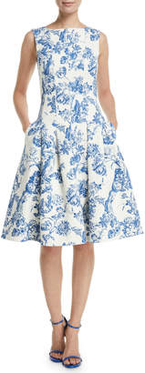 Oscar de la Renta Sleeveless Fit-and-Flare Toile Knee-Length Day Dress