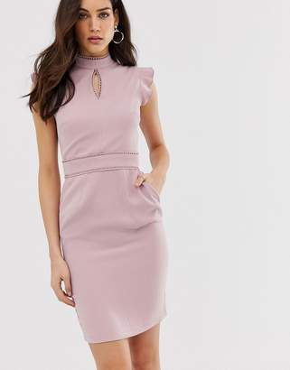 Paper Dolls capped sleeve pencil midi dress with keyhole detail