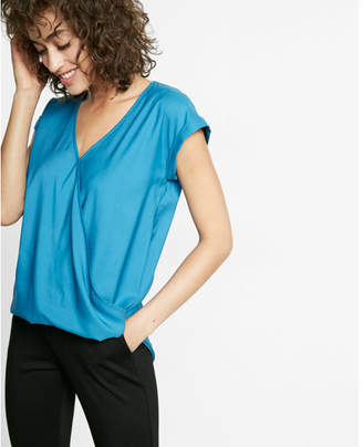 Express Short Sleeve Surplice Blouse $39.90 thestylecure.com