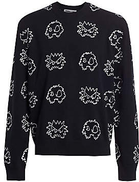 McQ Men's Allover Pixel Monster Stretch-Cotton Sweater