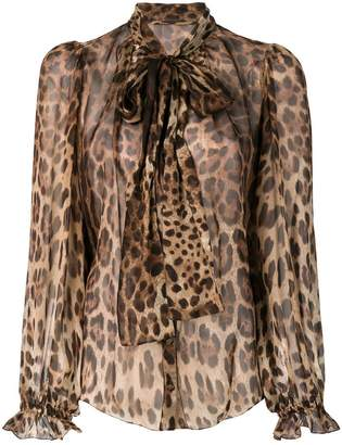 Dolce & Gabbana leopard-print pussy bow blouse