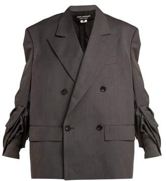 Junya Watanabe Gathered Sleeve Oversized Wool Blazer - Womens - Grey
