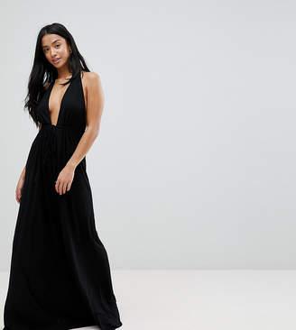 Asos DESIGN PETITE Tie Front Plunge Jersey Maxi Beach Dress