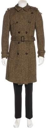 Burberry Herringbone Wool Trench Coat