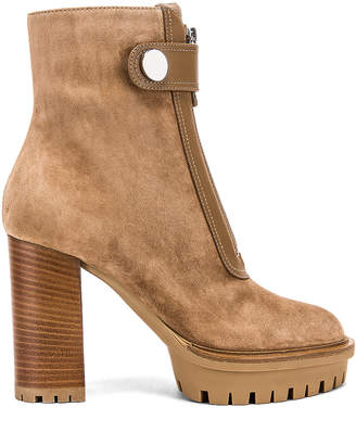 Gianvito Rossi Julian Zipper Ankle Heel Boots in Camel | FWRD