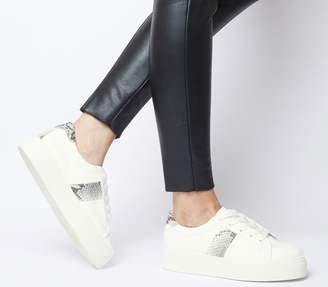 Office Feature Platform Lace Up Trainers White With Snake