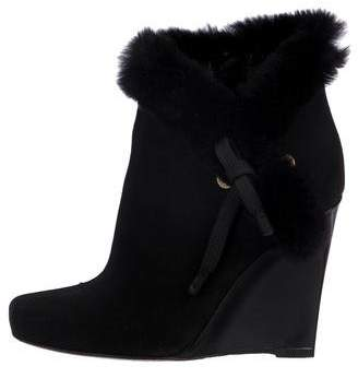 Louis Vuitton Fur-Trimmed Wedge Boots