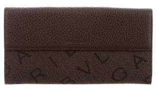 Bvlgari Leather-Trimmed Monogram Wallet