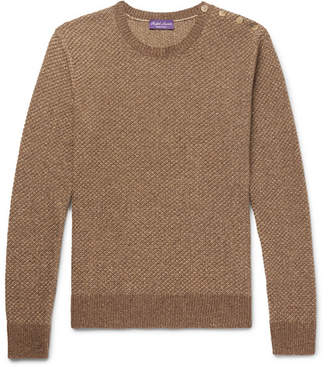 Ralph Lauren Purple Label Slim-Fit Waffle-Knit Silk Sweater