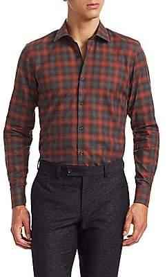 Saks Fifth Avenue Men's MODERN Long Sleeve Watercolor Plaid Shirt