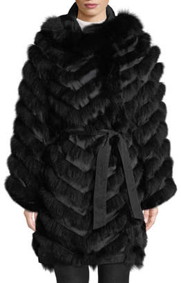 Belle Fare Reversible Silk & Fox Fur Chevron Jacket