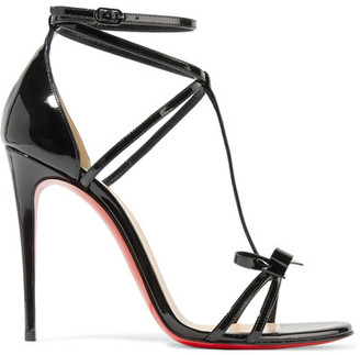 Christian Louboutin - Blakissima 100 Bow-embellished Patent-leather Sandals - Black $895 thestylecure.com