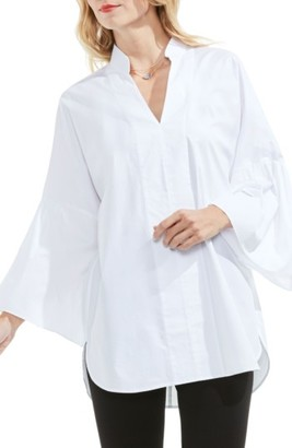 Women's Vince Camuto Bell Sleeve Stretch Poplin Tunic $89 thestylecure.com