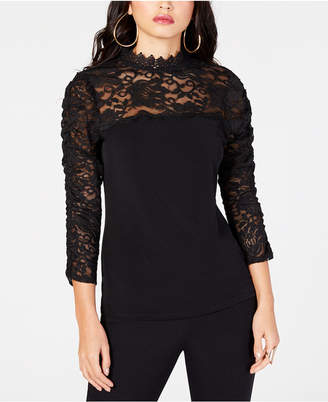 Thalia Sodi Mock-Neck Lace Top