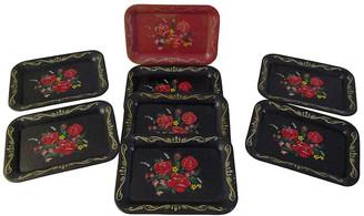 One Kings Lane Vintage Vintage Rose Metal Appetizer Trays - Set of 8 - Osprey Blu