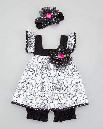 cachcach Dainty Dots N Roses Romper