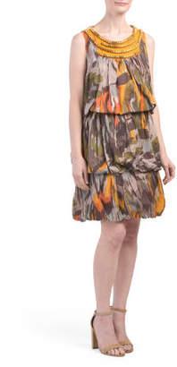 Kim Ruffled Tiered Printed Dress With Beaded Neckline