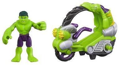 Playskool Heroes Marvel Super Hero Adventures Hulk Figure w/ Tread Racer Vehicle