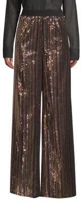 Robert Rodriguez Wide-Leg Sequin Striped Pants