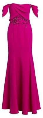 Marchesa Squareneck Embellished Bodice Gown