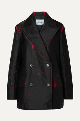 Prada Oversized Double-breasted Printed Denim Jacket - Red